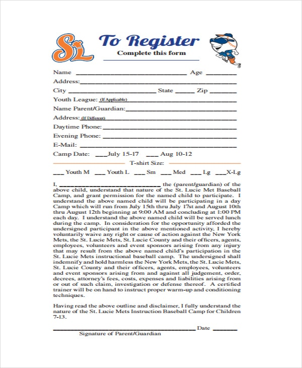 Baseball Camp Certificate Template