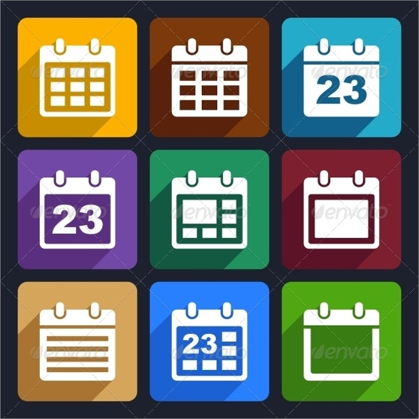 Abstract Calendar Flat Icons Set