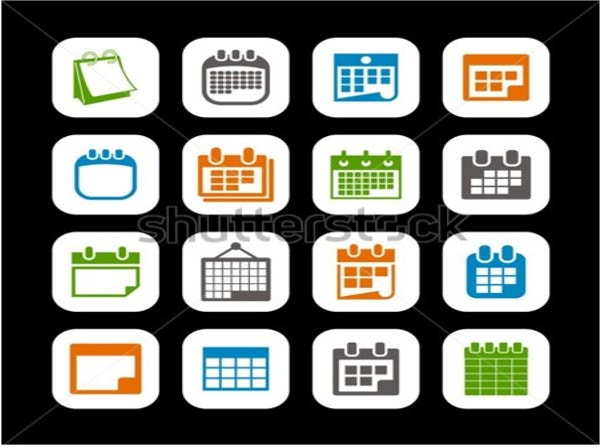 Vector Calendar Icons on Black Background