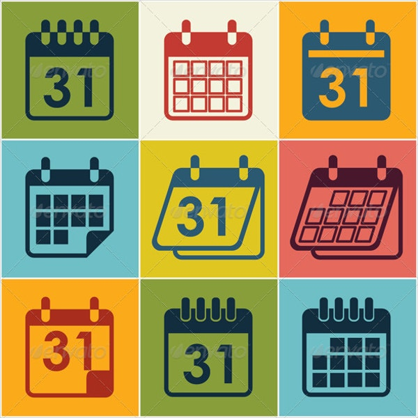 Vector Icon Calendar Set