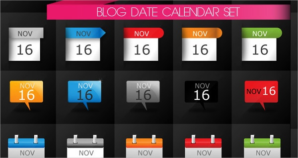 Date Calendatr Icons Set