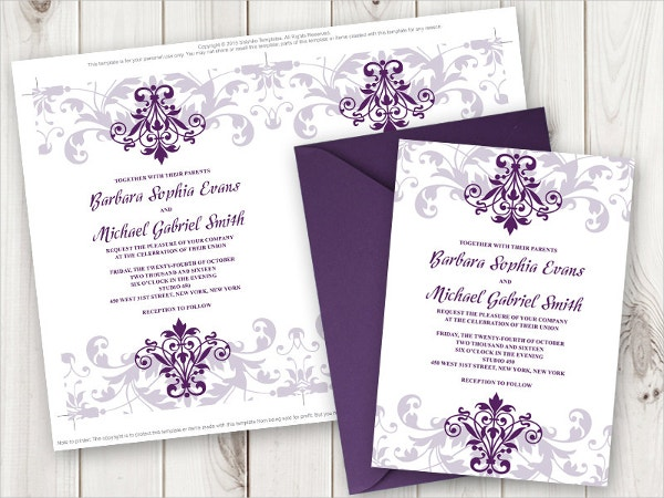 elegant iron work wedding invitation template
