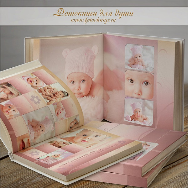 baby girl photo book in classic style template