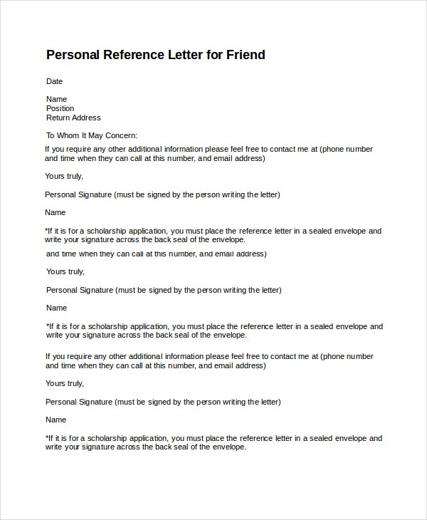7 Personal Reference Letter Templates Free Sample Example – Reference Latter