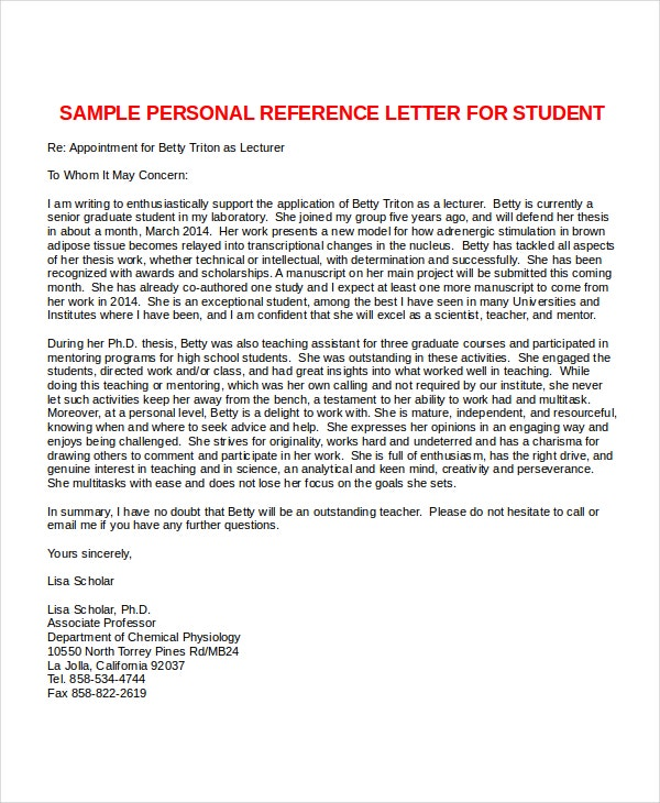 letter of employment recommendation