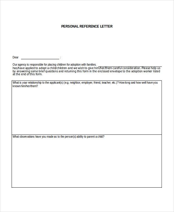 Personal Reference Letter for a Family Member
