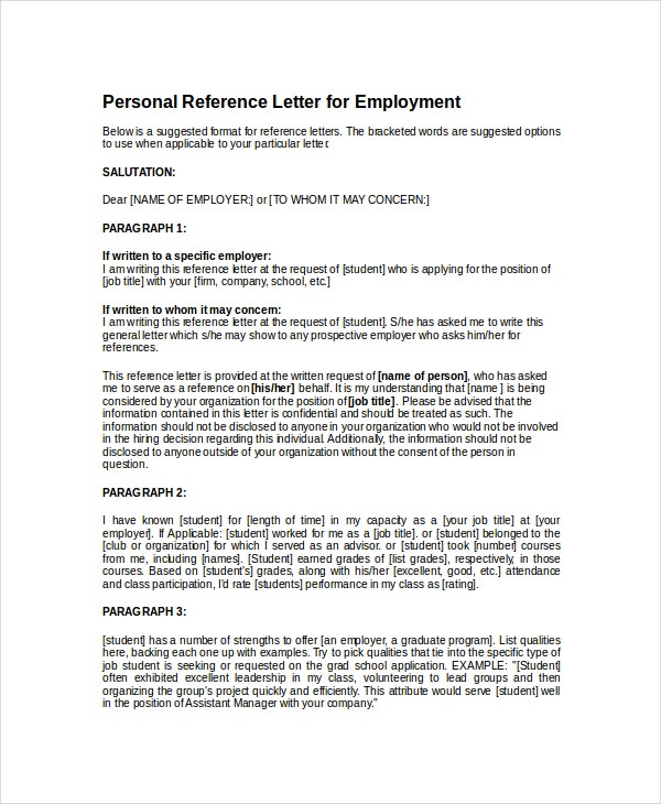Personal Reference Letter For Employment  Personal Letter Of Reference Template