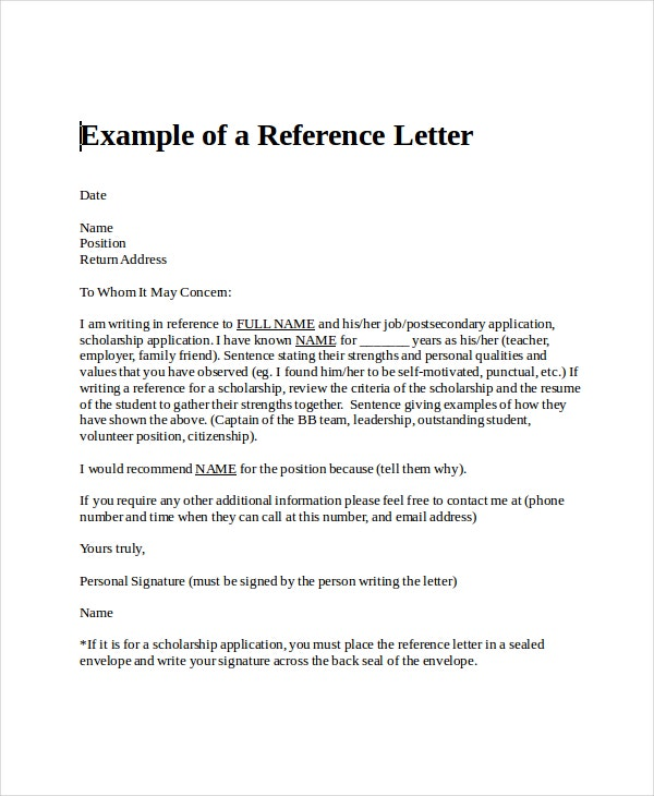 Example of Reference Letter for a Teacher