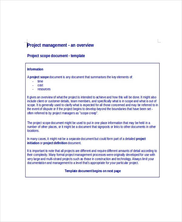 Project Scope Document Template