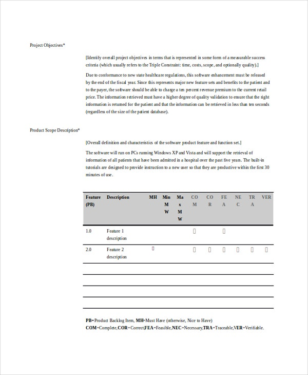 scope document templates