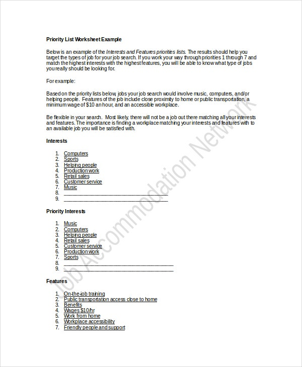 Job Priority List Worksheet