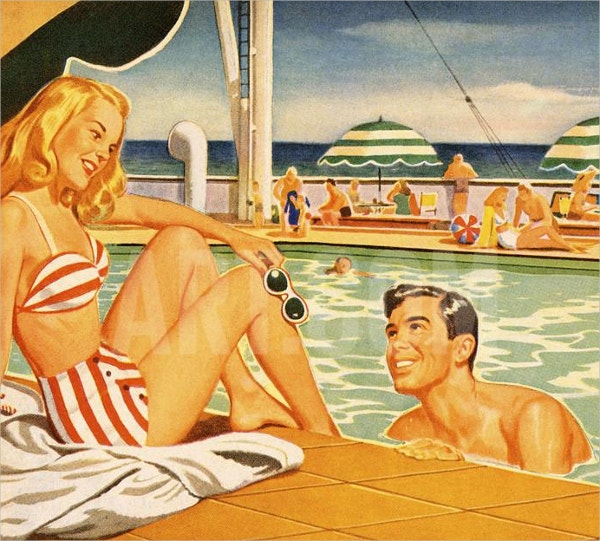 Woman & Man Flirting at the Pool