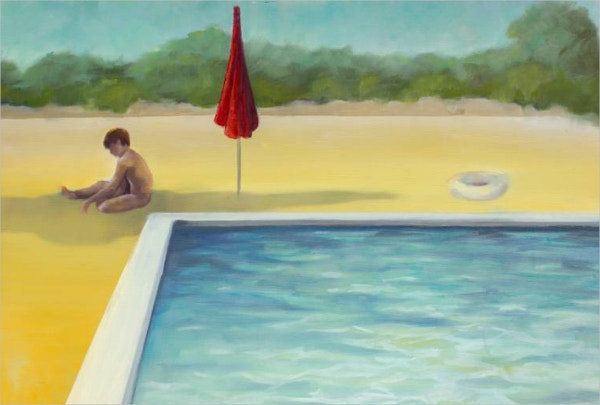 Kid Sit around Swimming Pool Painting