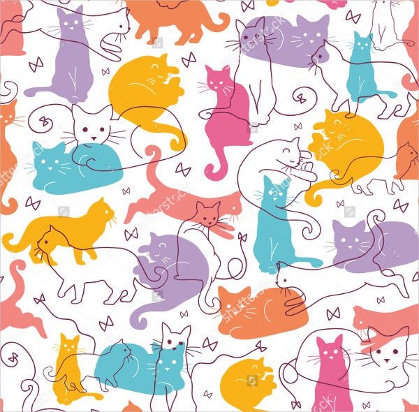 Colorful Cats Seamless Pattern