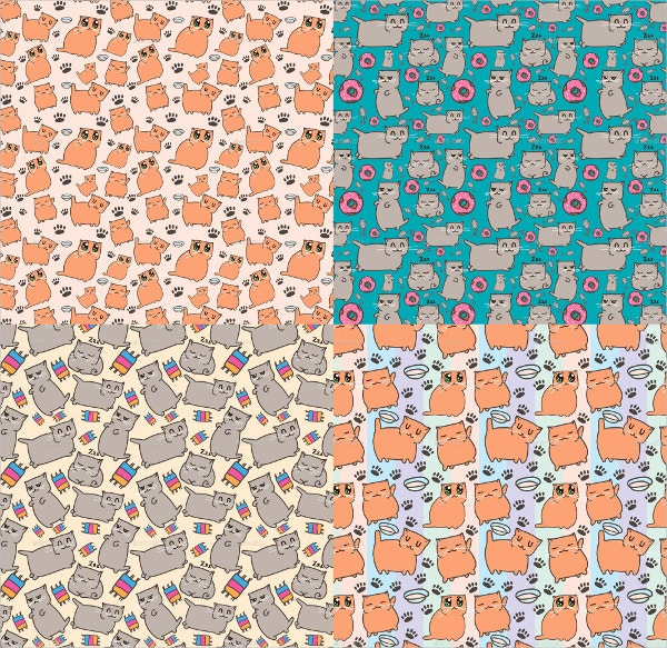 Cats Patterns Set
