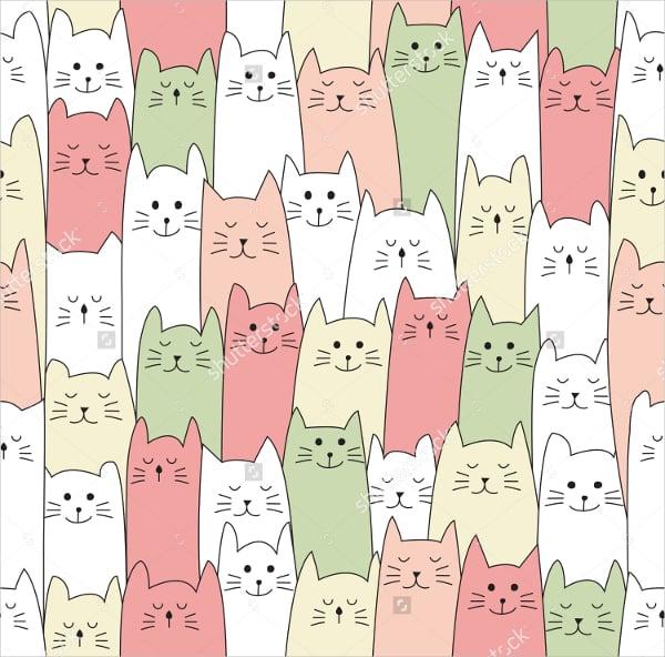 doodle cat pattern