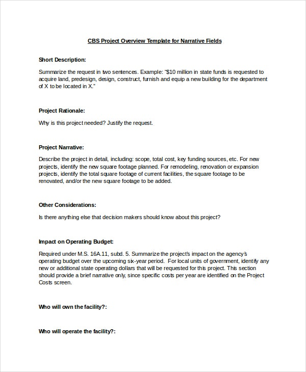 Project Overview Template   Free Word Document Downloads