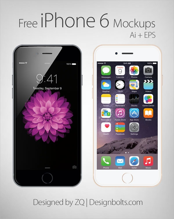 Free Vector Apple iPhone 6 Mockup In Ai & EPS FormatBy