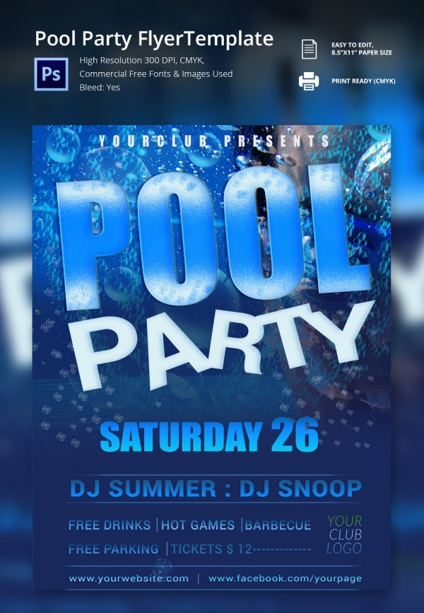 Daily Freebie - Pool Party Flyer