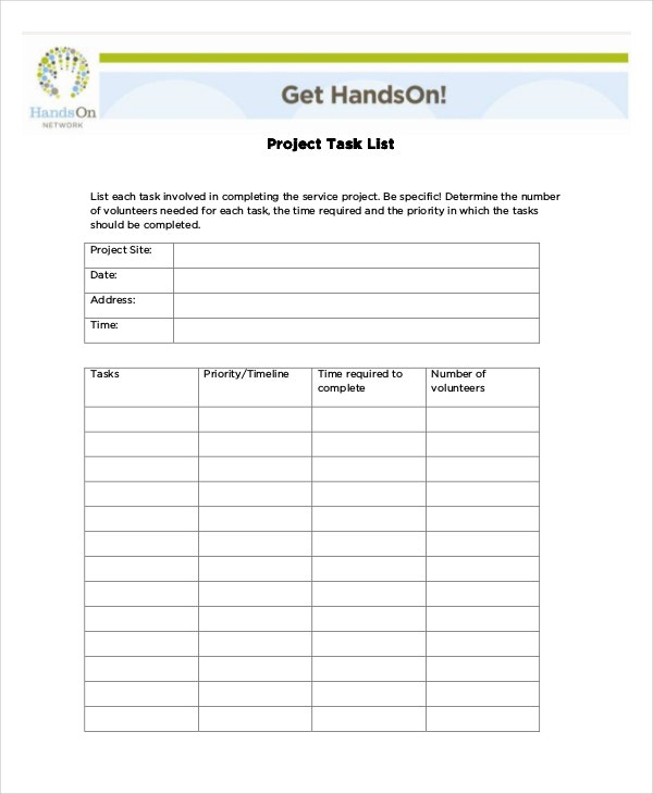 Project-Task-List-Template
