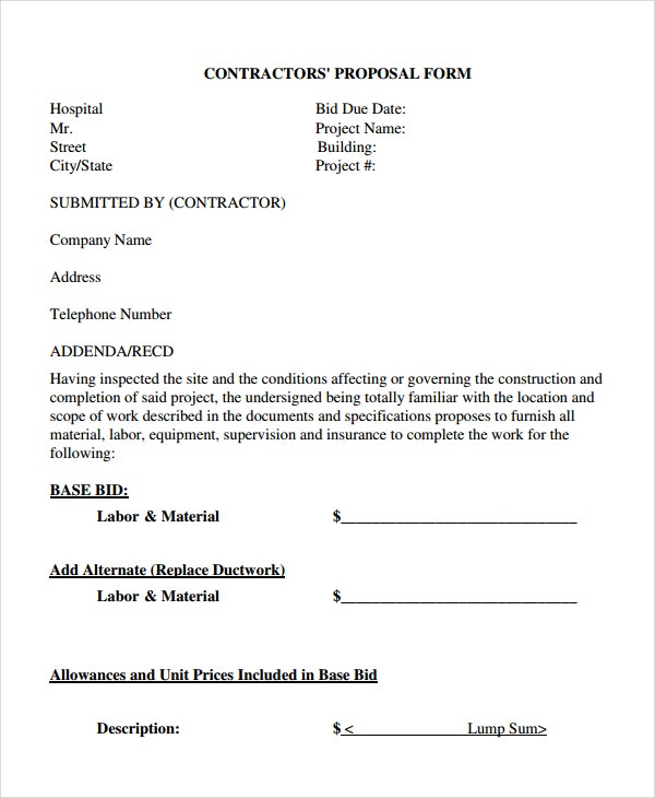 Contractor Proposal Template 7 Free Word Document Downloads – Proposal Form Template