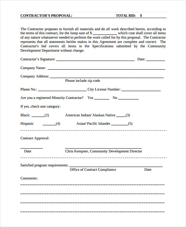 Contractor Proposal Template   Free Word Document Downloads