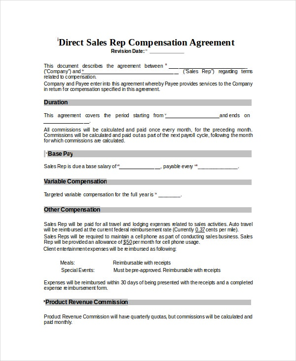 sales compensation plans templates - compensation plan template 8 free word document