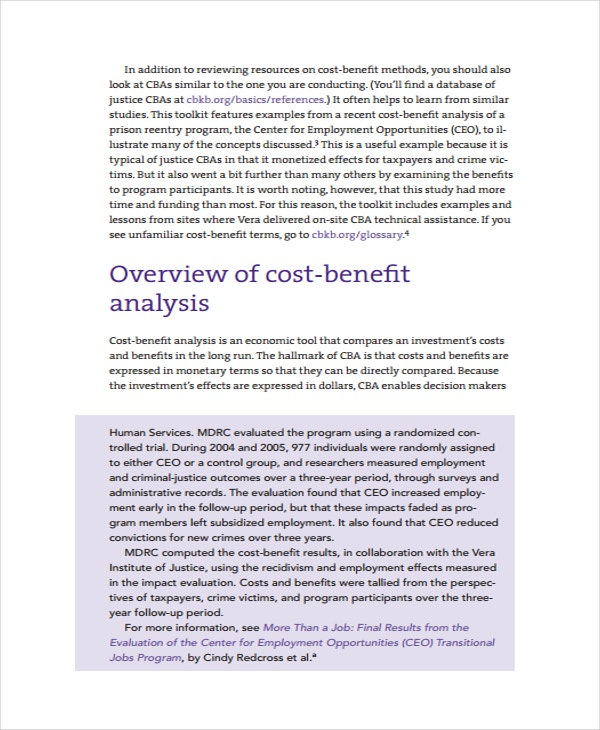 Cost Benefit Analysis and Justice Policy Toolkit