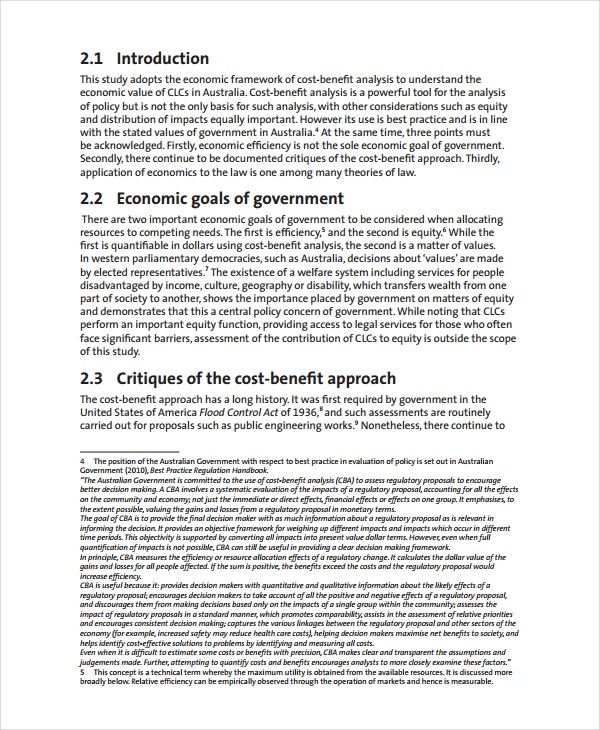 Economic Cost Benefits Analysis Template