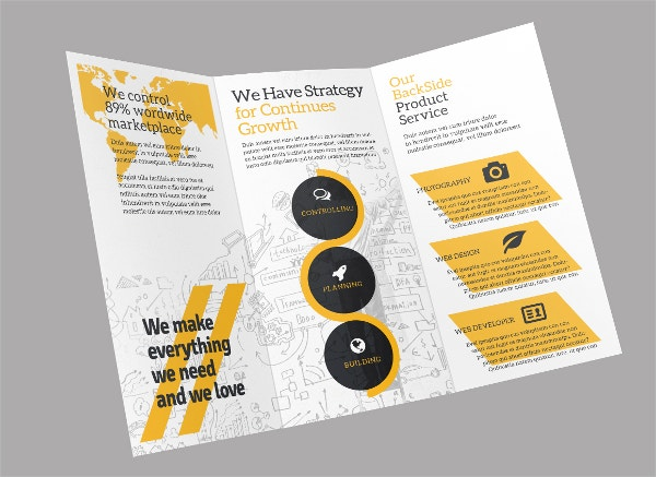 Business Trifold Flat Brochure Design Template