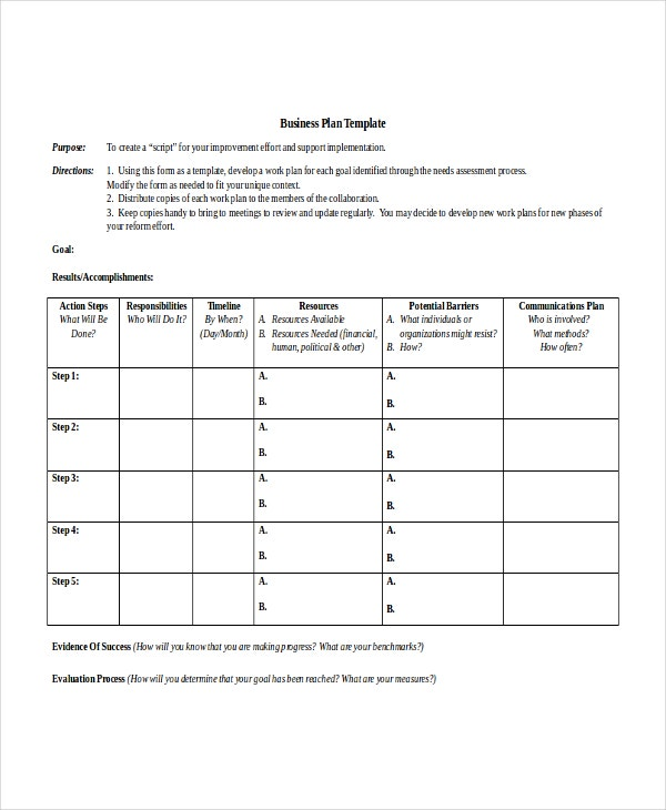 Business Action Plan Template  Free Action Plan Templates