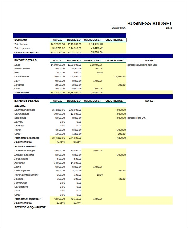 monthly business budget template1
