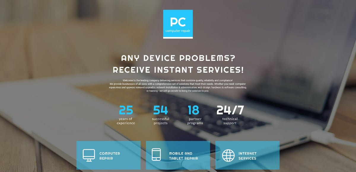 Computer Repair Landing Page HTML Website Template $14