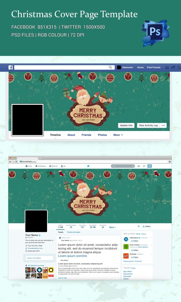 Awesome Christmas Facebook and Twitter Cover Page