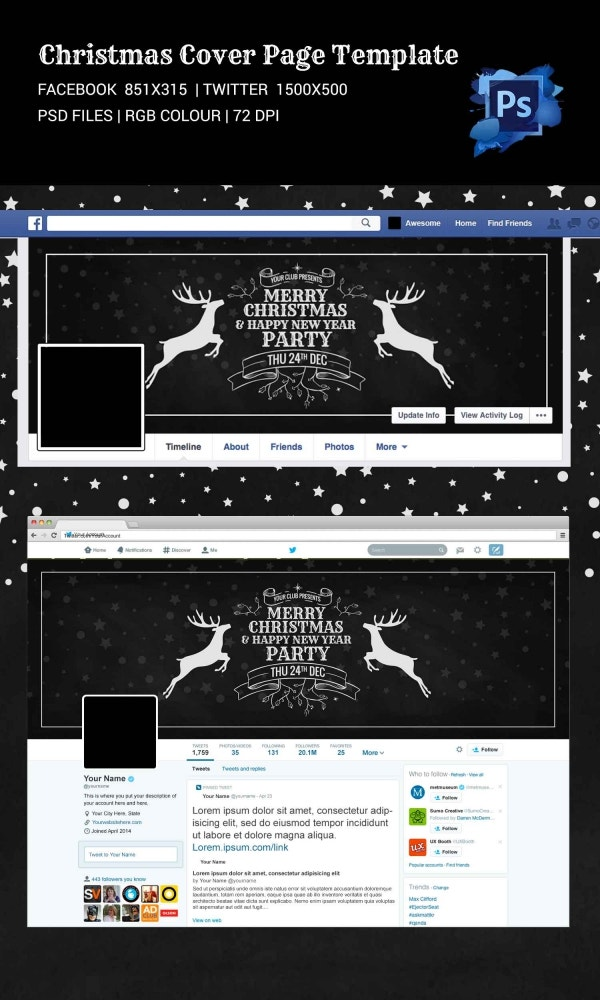 Christmas Holiday Social Media Cover Page Template
