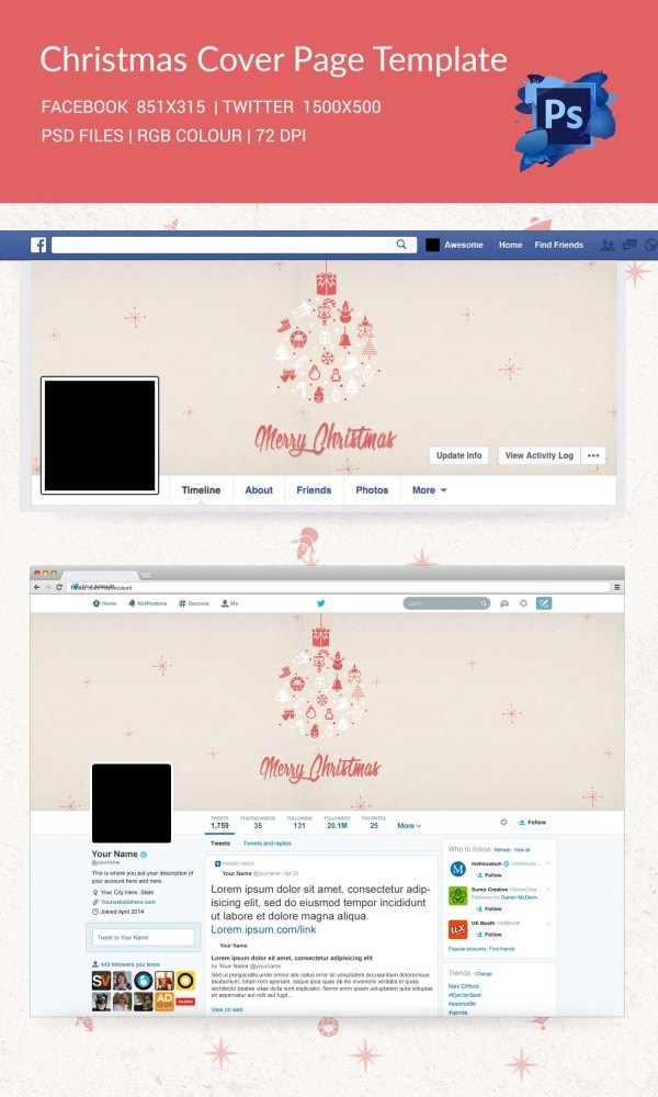 Merry Christmas Facebook and Twitter Cover Page