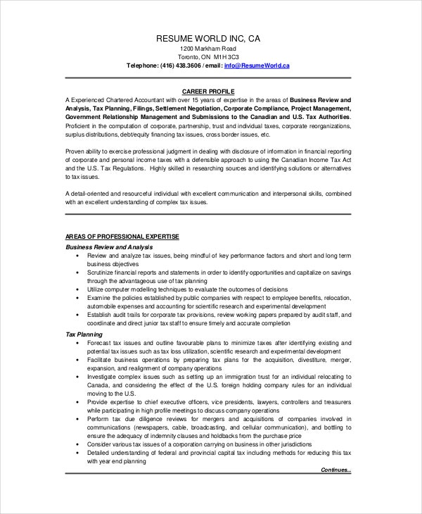 Chartered Accountant Resume Template - 5+ Free Word, PDF Documents ...