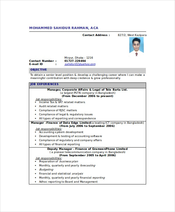 resume chartered accountant - Sample Resume Of Chartered Accountantindia