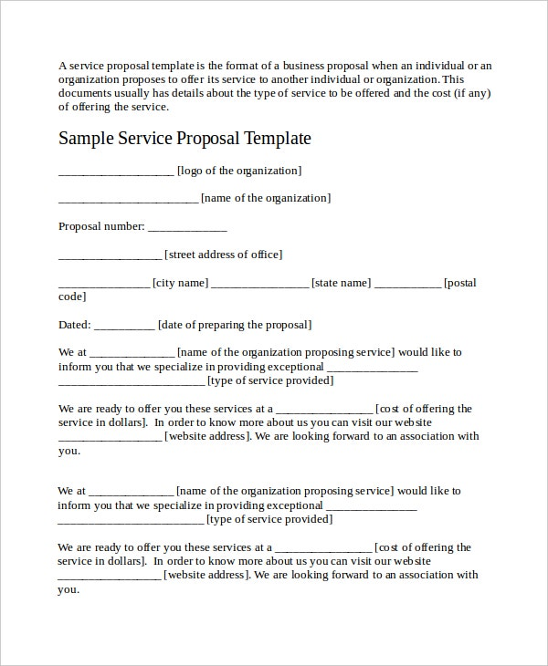 Service Proposal Template   Free Word  Document Downloads