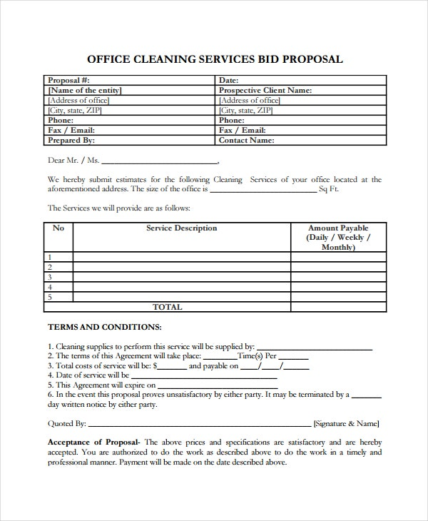 Office Cleaning Service Bid Proposal Template  Professional Proposal Templates