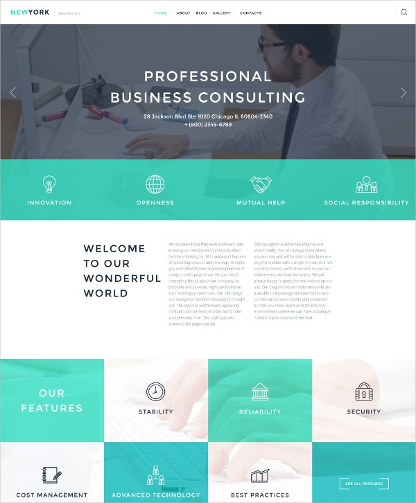Professional Business Consulting WordPress Theme $75