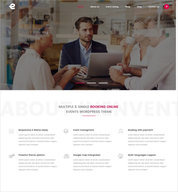 Event Management WordPress Theme $59