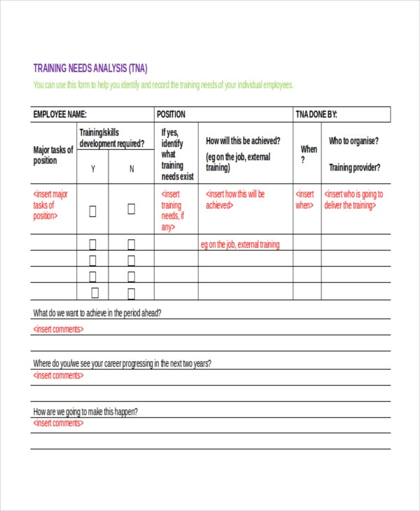 Training Needs Assessment Template Training Needs Assessment