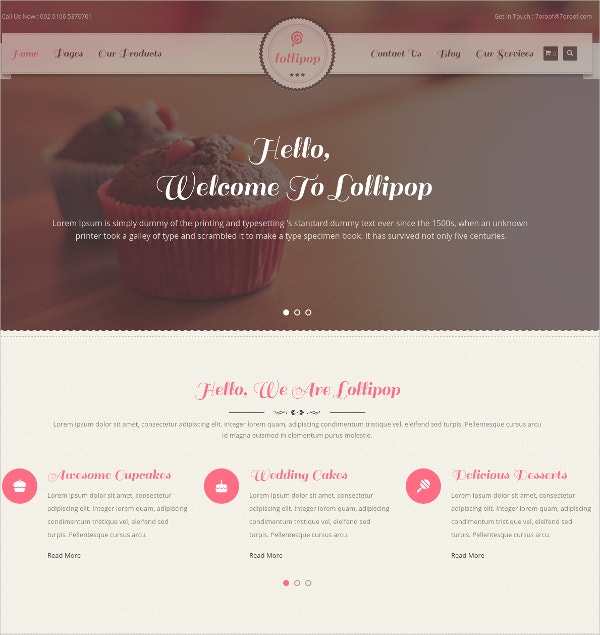 Bakery Sweets & Cakes WordPress Theme $59