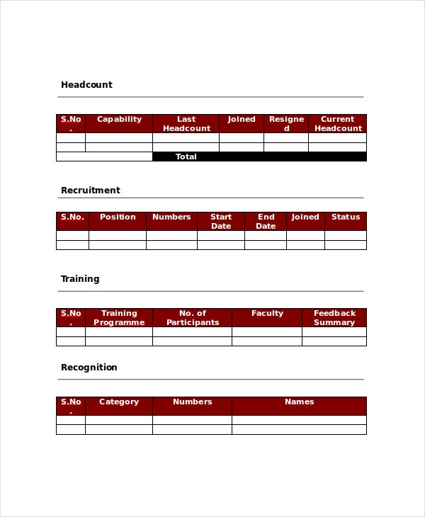 Hr Report Templates - 8+ Free Word, Pdf Format Download! | Free