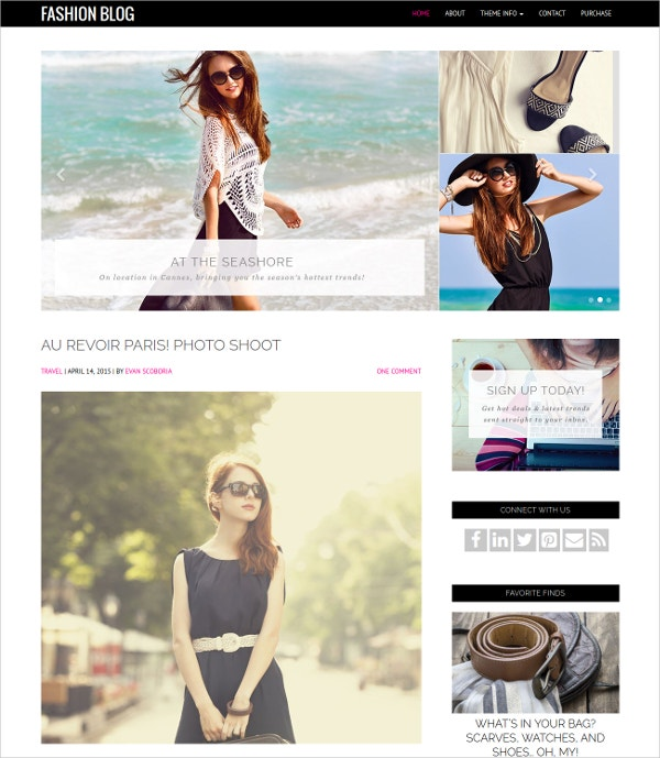 Feminine Fashion Blog WordPress Theme $49