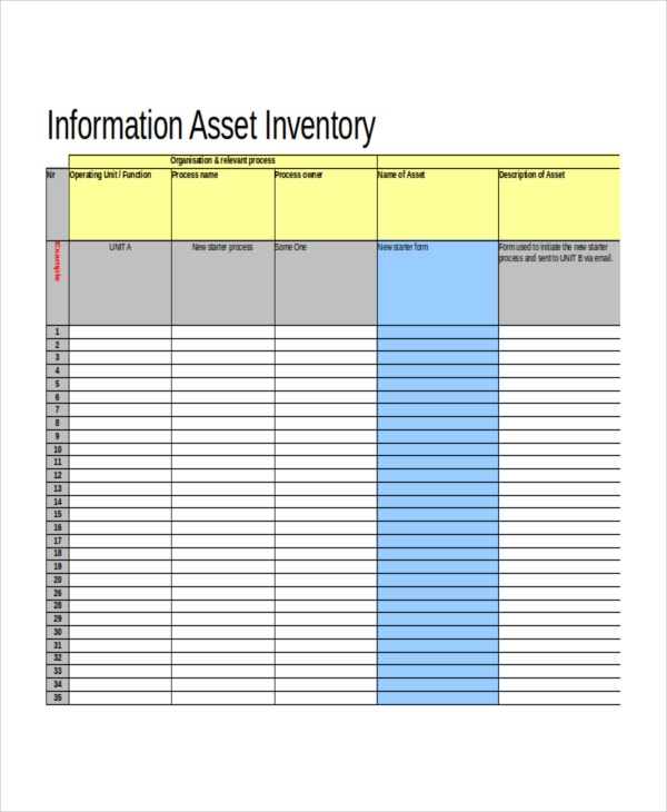 Application Information Inventory Template