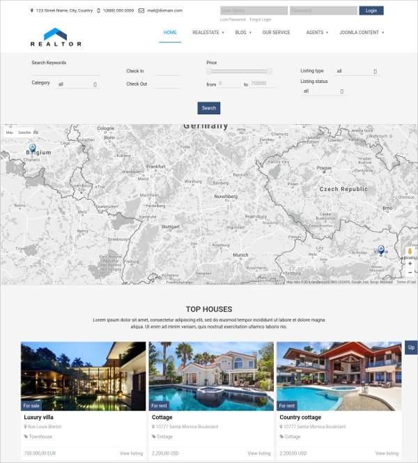 Responsive Real Estate Joomla Theme $69