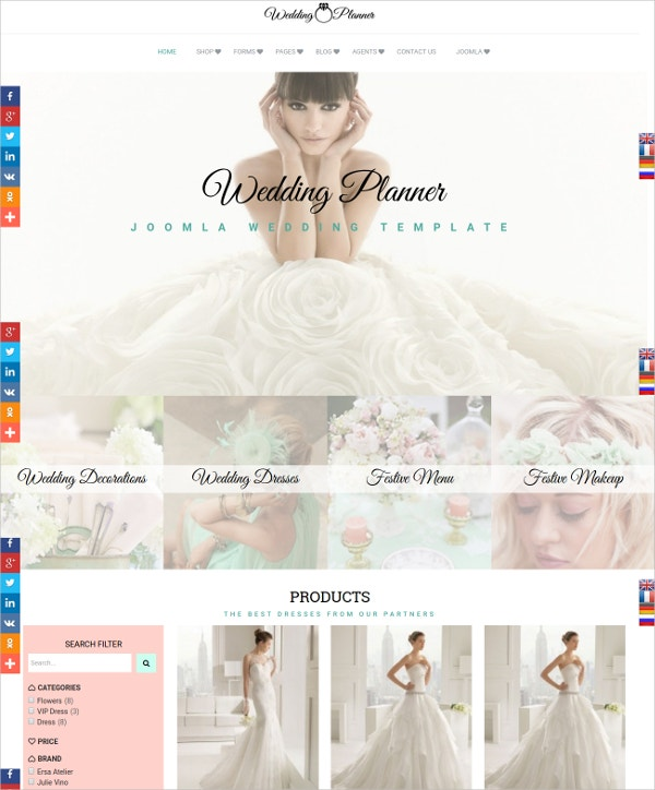 Beautiful Wedding Event Planning Joomla Template $69
