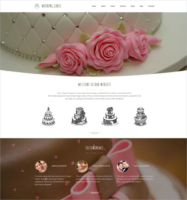 Wedding Cake Blog CMS Template $199